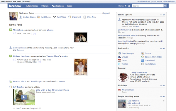NEW FACEBOOK LAYOUT. New Facebook Layout. I really like the fact Facebook is